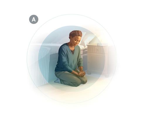A. Una mujer orando para dedicarse a Dios.