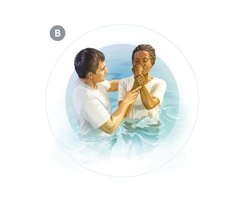 B. Lamisma mujer bautizándose para ser testigo de Jehová. Lasumergen completamente en agua.
