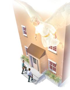 Enkeli ohjaa kahta Jehovan todistajaa, jotka ovat saarnaamassa ovelta ovelle.