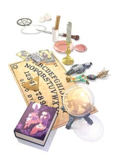 Okkultismiin ja spiritismiin liittyviä esineitä, kuten aakkoslauta, kristallipallo, vampyyreista kertova kirja, tarot-kortteja, voodoo-nukkeja, suitsuketikkuja ja amuletteja.