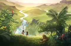 Adán y Eva observando su hermoso hogar: un inmenso jardín con animales y muchas plantas.