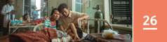 26.lekcia: Utrápení rodičia sedia vnemocnici vedľa lôžka svojho syna, ktorý mal nejaký vážny úraz strvalými následkami