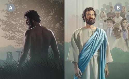 Kuvakollaasi: A. Aadam sen jälkeen kun hän oli kapinoinut Jumalaa vastaan. B. Jeesus Kristus.