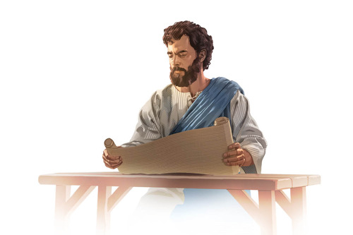 Jesús leyendo un rollo de la Palabra de Dios.
