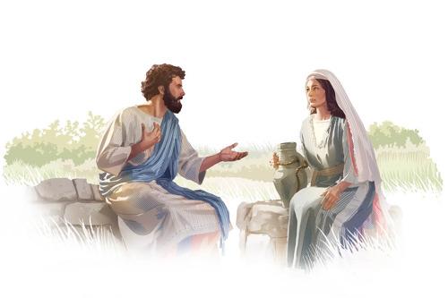 Jesús hablando con una mujer samaritana junto a un pozo.