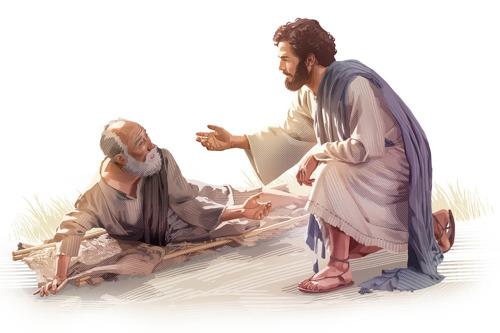 Jesús curando a un enfermo.