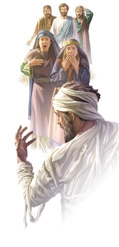 Jesús resucitando a Lázaro y la gente mirando asombrada.