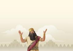 Kong Nebukadnesar ser opp mot himmelen med løftede hender.