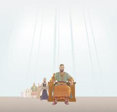 En rekke av israelittiske konger som sitter på hver sin trone. Lysstråler skinner ned på dem.