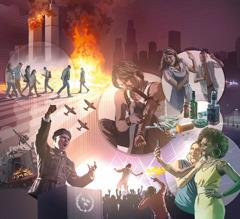 Bildeserie: Bilder som viser verdensforholdene i de siste dager. 1. En militærleder står ved en talerstol og roper med armen i været. 2. Ødelagte bygninger etter et jordskjelv. 3. Militærfly. 4. Folk med munnbind som går på en gate. 5. Tvillingtårnene i New York står i brann etter et terrorangrep. 6. En mann bruker narkotika. 7. En ektemann knytter neven mot kona si og skriker til henne. 8. Alkohol og narkotika. 9. To kvinner med dyre klær og smykker tar en selfie. 10. En DJ spiller musikk på en konsert. 11. En opprører kaster en flaske med brennende innhold.