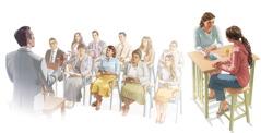 Bildeserie: 1. En som studerer Bibelen, er på et møte hos Jehovas vitner. 2. Den samme personen forkynner for en hun kjenner.