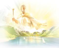 Ježiš ako Kráľ vnebi vládne nad zemou, zktorej je krásny raj