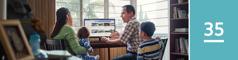 Lección 35. Unhombre buscando en internet anuncios de autos, mientras su esposa y sus niños lo miran.