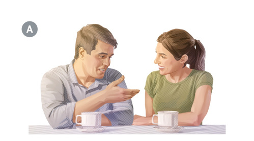 A. Mies ja vaimo juttelevat kahvikupin ääressä.