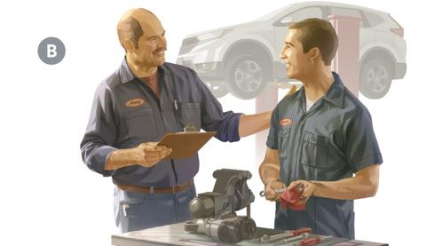 B. Eljefe de un taller de autos felicitando a uno de sus mecánicos.