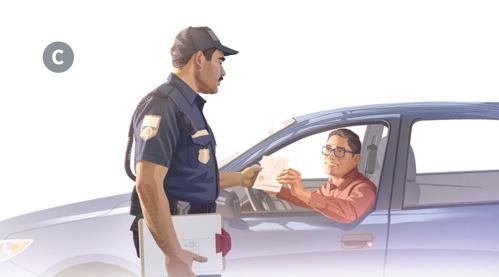 C. Desde su auto, un hombre mostrándole su documentación a un policía.