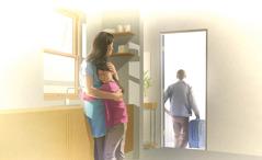 Murtunut äiti ja surullinen lapsi halaavat toisiaan, kun perheen isä muuttaa pois kotoa.
