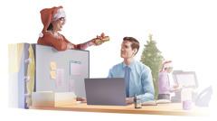 Kolegyňa dáva kresťanovi vianočný darček