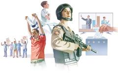 1. Skupina nahnevaných ľudí drží vruke transparenty aprotestuje; 2.muž povzbudzuje svoj tím na športovom zápase avrukách drží zástavu; 3.študent skladá prísahu vernosti vlajke; 4.vojačka drží vrukách samopal; 5.diskusia dvoch politických kandidátov; 6.žena vkladá hlasovací lístok do volebnej urny