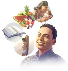Kuvakollaasi: Mies miettii, mitä kaikkea hän on saanut Jumalalta. 1. Rakkaus, jota kuvaa lastaan sylissään pitävä äiti. 2. Hyvä ruoka, jota kuvaavat monenlaiset hedelmät ja vihannekset. 3. Raamattu. 4. Jeesuksen Kristuksen lunastusuhri.