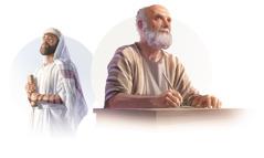 Kuvakollaasi: 1. Omahyväinen fariseus Saul, joka sai myöhemmin nimen Paavali. 2. Apostoli Paavali kirjoittaa kirjettä toisille kristityille.