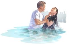Nainen kastetaan.