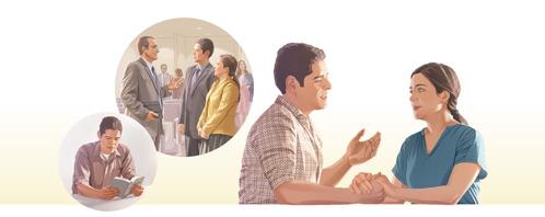 Imágenes de las cosas que hace un hombre y que lo llevan a tratar con bondad a su esposa: 1. Leyendo la Biblia. 2. Él y su esposa conversando con un amigo en el Salón del Reino.