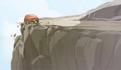 Un auto yendo por la orilla de un precipicio. Laparte de atrás del auto ya se ha salido un poco de la carretera.