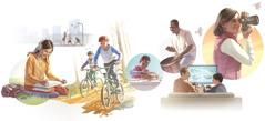 Imágenes de personas de distintas edades disfrutando de entretenimiento sano: 1. Una jovencita escuchando música mientras dibuja. 2. Tres muchachos jugando básquet. 3. Dos niños en bicicleta. 4. Unniño armando un auto de juguete. 5. Unhombre tocando un tambor. 6. Unniño y su padre jugando un videojuego. 7. Una mujer tomando fotografías.