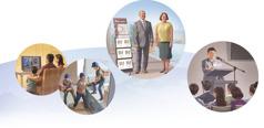 Kuvakollaasi: Jehovan todistajat kaikkialla maailmassa saavat hallintoelimeltä ohjausta. 1. Perhe katsoo JW Broadcasting -ohjelmaa. 2. Vapaaehtoistyöntekijät lastaavat avustustarvikkeita rekkaan. 3. Kaksi Jehovan todistajaa todistuskärryn luona. 4. Vanhin lukee kokouksessa seurakunnalle kirjettä.