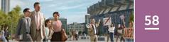 Lección 58. Una familia de Testigos caminando tranquilamente hacia el lugar donde se celebra una asamblea regional de los testigos de Jehová. Pasan cerca de un grupo de apóstatas que está gritándoles a los asistentes.