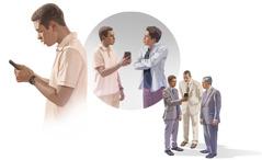 Kuvakollaasi: Veli auttaa toista veljeä, joka on syyllistynyt väärintekoon. 1. Veli huolestuu siitä, mitä hän näkee matkapuhelimessaan. 2. Veli näyttää puhelintaan toiselle veljelle, mutta tämä torjuu hänen keskusteluyrityksensä. 3. Veli näyttää puhelintaan kahdelle vanhimmalle ja keskustelee heidän kanssaan.