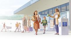 Sisar ja hänen pieni poikansa tulevat ruokakaupasta. He ohittavat naisen, joka kerää rahaa kirkon hyväntekeväisyyteen.