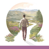 Enjoy Life Forever!—An Interactive Bible Course. A man starts to walk down a winding path surrounded by beautiful vegetation, hills, and mountains.