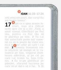 Etichete care indică spre caracteristicile A, B și C ale unei pagini din Biblie.