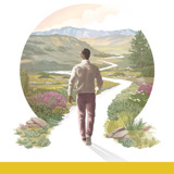 Enjoy Life Forever!—Introductory Bible Lessons. A man starts to walk down a winding path surrounded by beautiful vegetation, hills, and mountains.