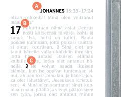 Kirjaimilla A, B ja C merkityt kohdat Raamatun sivulla.