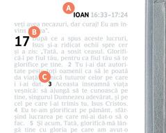 Etichete cu literele A, B și C pe o pagină a Bibliei.