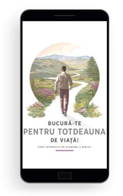 Bucură-te pentru totdeauna de viață! – Curs interactiv de studiere a Bibliei. Un bărbat pășește pe o potecă șerpuitoare, fiind înconjurat de un peisaj frumos cu vegetație, dealuri și munți.
