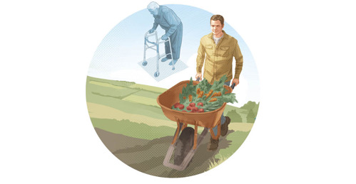 Un bărbat care a fost în vârstă este acum tânăr și împinge o roabă plină cu legume.