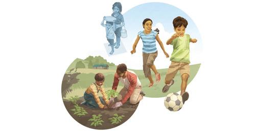 Copii care au suferit de foame și care făceau muncă forțată acum plantează o grădină și joacă fotbal.