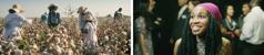 """Colaj: Scene din materialul video """"Voiam să lupt pentru dreptate"""". 1.Rafika culegea bumbac alături de oameni de aceeași rasă, în copilărie. 2.Rafika participă pentru prima dată la un congres al Martorilor lui Iehova și e încântată să vadă unitatea dintre oameni de diferite rase."""