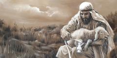 Ποιμένας φροντίζει πληγωμένο πρόβατο