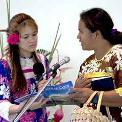 Two women discussing a Bible topic