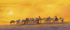 Rebekah and her attendants riding on camels