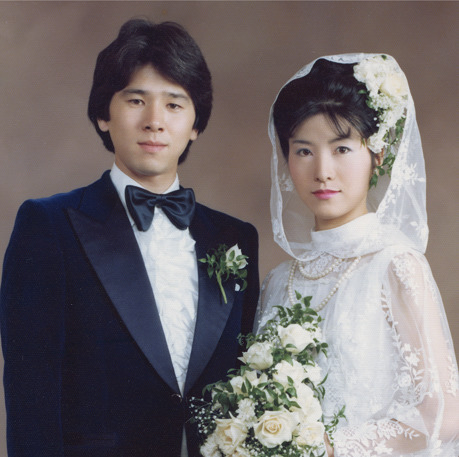 A couple on their wedding day