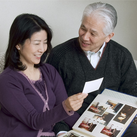 A couple looking at photos