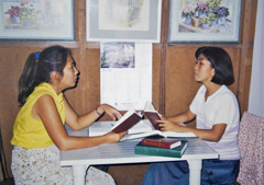 Precious studying the Bible with Marieta