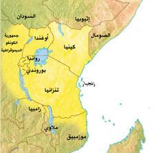خريطة البلدان الافريقية الناطقة باللغة السواحيلية