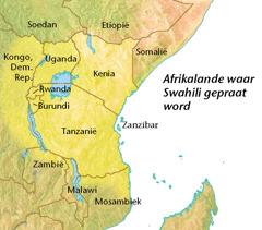 'n Kaart van Afrikalande waar Swahili gepraat word